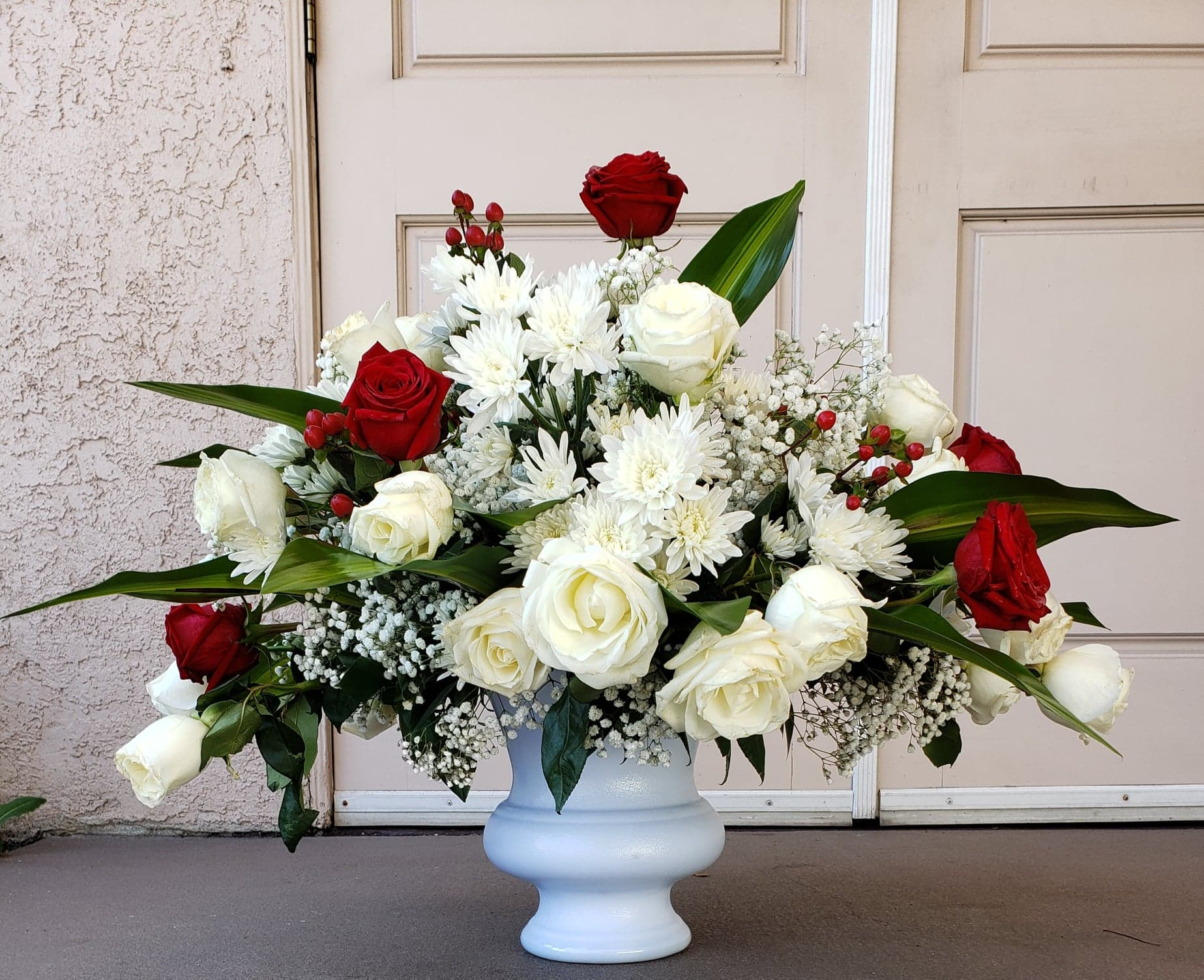White and Red Funeral Urn